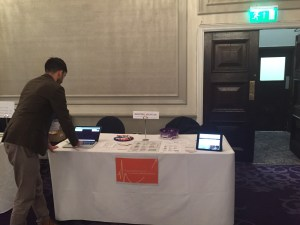 Setting up the stand ahead of the conference