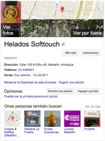 Helados Soft Touch en Google