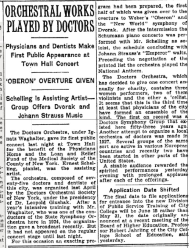 New York Times Review of First Performance