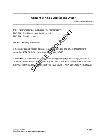 Consent to be Director (Canada) - Legal Templates - Agreements, Contracts and Forms