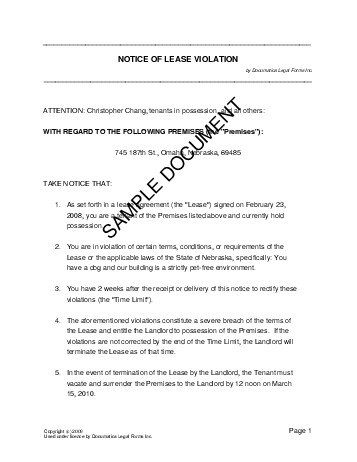 Notice of Lease Violation (USA) - Legal Templates - Agreements, Contracts and Forms