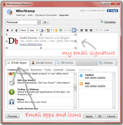 Wisstamp gmail signature addon