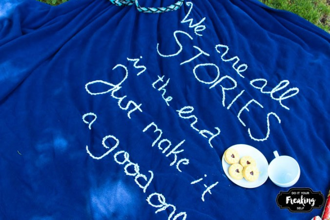 Show off your crafty Whovian side this fall with a DIY Doctor Who Quote Embroidered Blanket.
