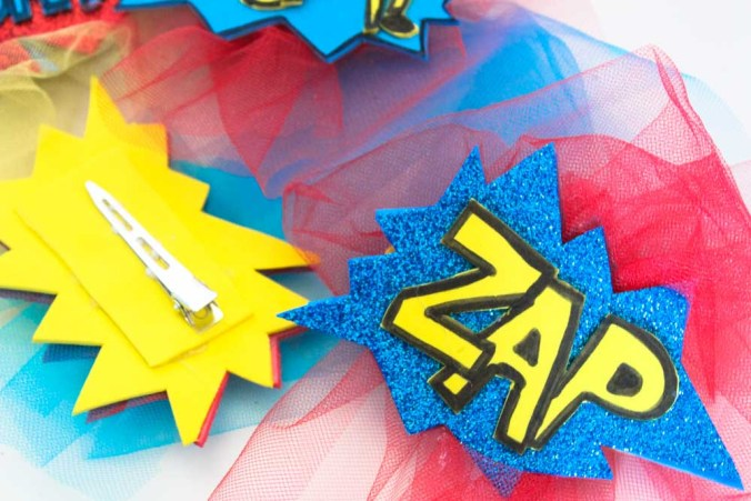 Get ready for halloween or comic con with these fun comic word diy hair clips