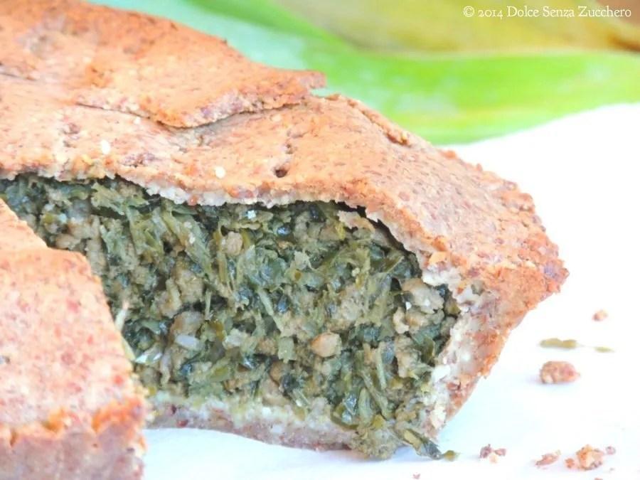 Meat Pie con Porri, Verdure Verdi con Timo (Ricetta Senza Glutine, Senza Farine di Cereali e Con Indice Glicemico Basso)