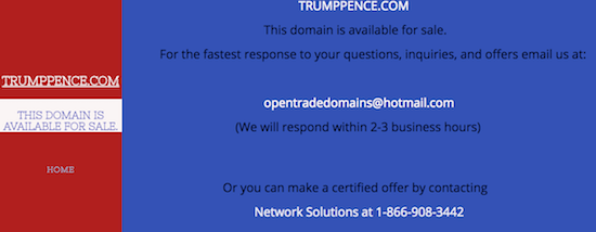 TrumpPence.com Domain Name for Sale