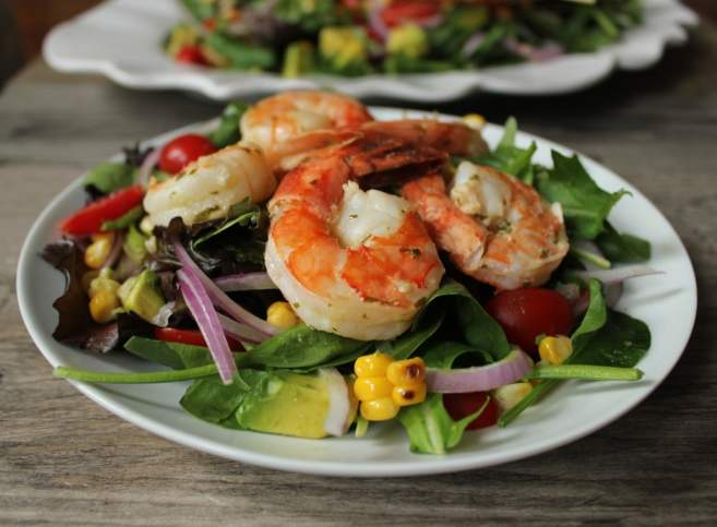 Summer-Salad-with-avocado-corn-and-grilled-herb-shrimp-2