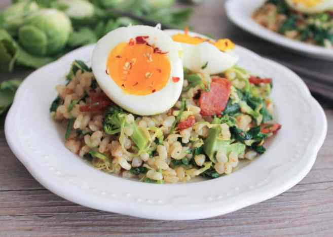 healthy-bacon-fried-brown-rice-with-wilted-greens-and-egg-5