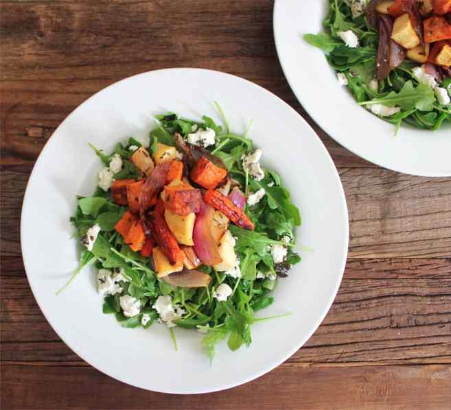Roasted-Root-Vegetable-Salad-with-Herbed-Goat-Cheese-and-Arugula-5