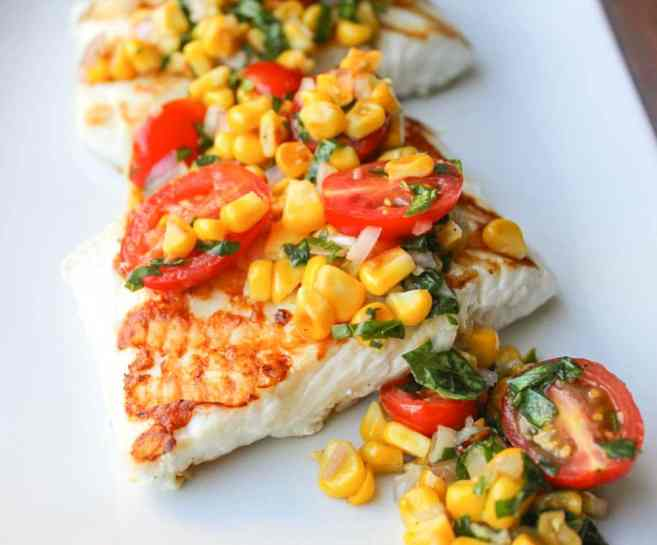 Best-Summer-Grilling-Recipes-Grilled-Halibut-With-Corn-and-Cherry-Tomato-Salsa