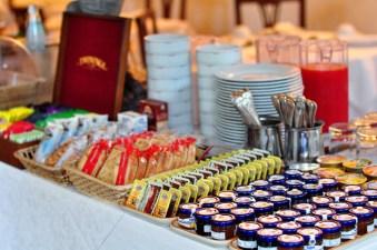 Extensive spread for the breakfast buffet.
