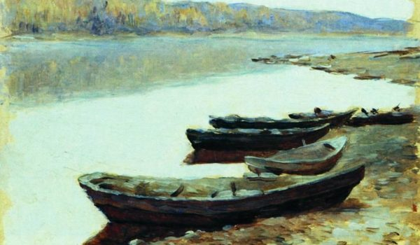 landscape-on-volga-boats-by-the-riverbank-1878