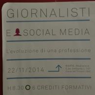 Corso Giornalisti e Social Media, Cava de' Tirreni (SA) 22/11/2014