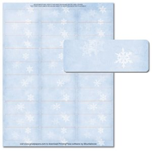 Winter Flakes Address Labels -- 5 Sheets -- 150 Labels