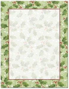 """Jolly Holly -- Holiday Stationery -- 8 1/2"""" x 11"""" -- 100 Sheets"""