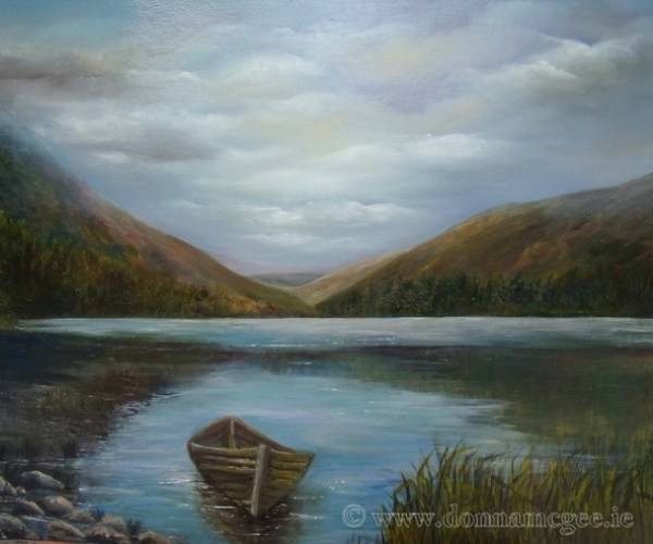 Upper Lake Glendalough, Wicklow, Ireland - Oil on board