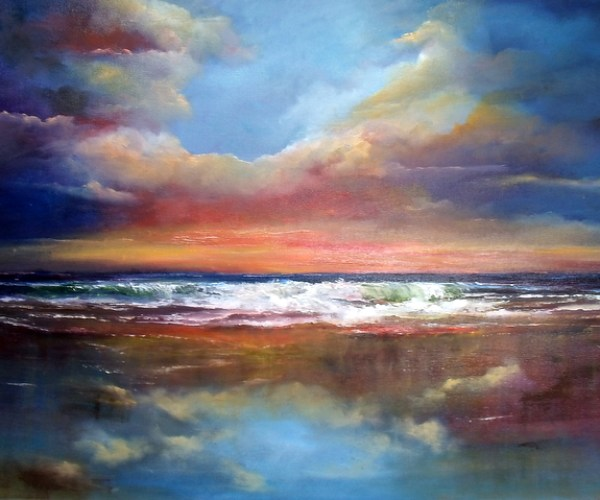 Between Earth & Sky Seascape - Oil on Canvas 20 x 30""
