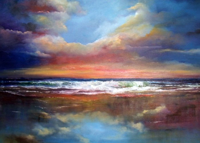 "Between Earth and Sky Seascape - Oil on Canvas 20 x 30"" reflective clouds on beach"