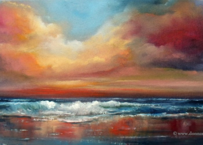 "Orchestral-Skies Seascape 10 x 20"" Oil on Board"