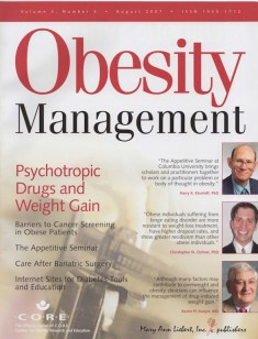 Obesity Management [8-1-2007] Cover Photo and Story on Binge Eating Disorder