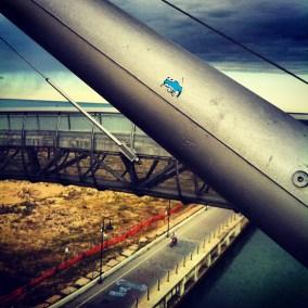 Don't Rain blue mini lizard sticker, bridge in Italy