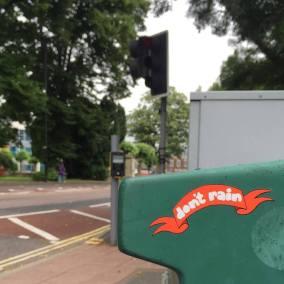 Don't Rain Skateboarding sticker banner