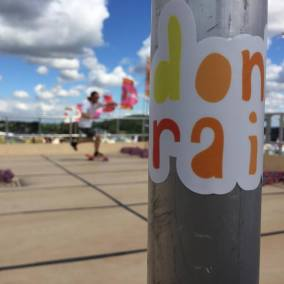 Don't Rain Skateboarding sticker Camp Bestival
