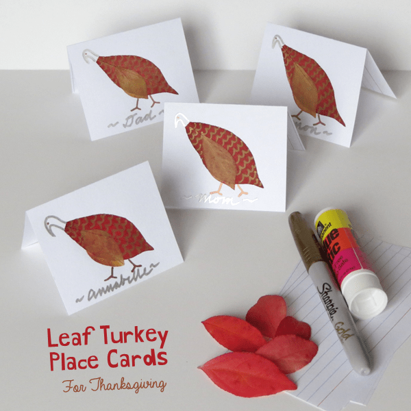 Leaf Turkey Thanksgiving Place Cards