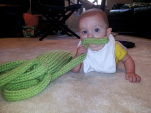 My niece eats her Squid Buddy.