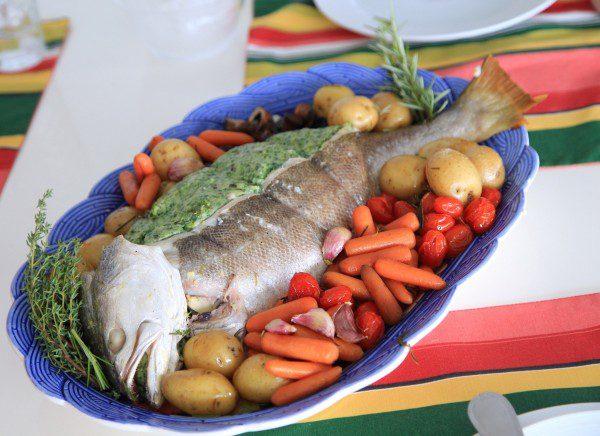 Peixe recheado com linguado e espinafre