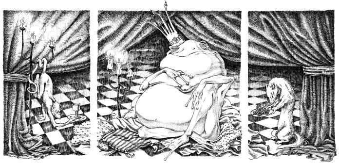 "Natterjack Usurps the Throne. 14"" x 26""; pen & ink"