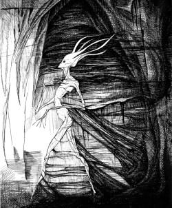 """Walker in Darkness. pen & ink; 14"""" x 11"""""""
