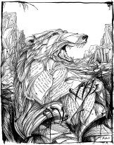 """Shadows of Bears (illus. for """"July Tale"""" by Neil Gaiman). 14"""" x 11""""; pen and ink"""