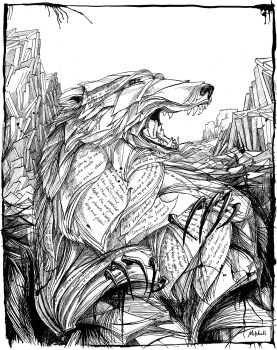 "Shadows of Bears (illus. for ""July Tale"" by Neil Gaiman). 14"" x 11""; pen and ink"