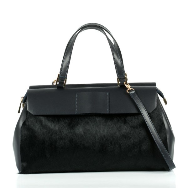 Leather handbag with handles