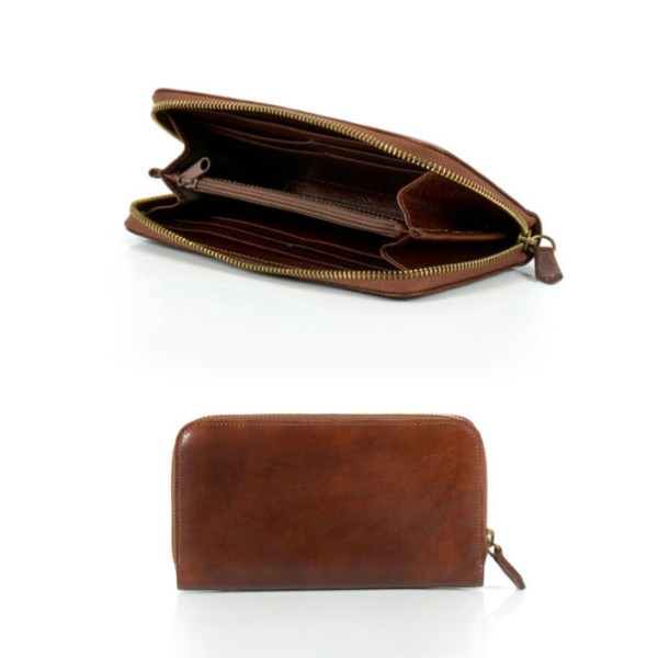 Leather wallet for women with zip closure