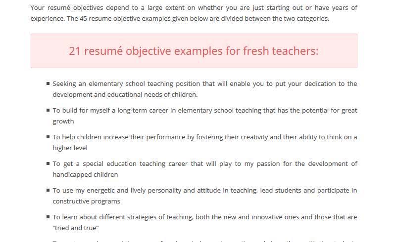 Resume Format For Teachers Objective
