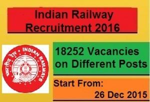RRB Railway Recruitment 2016 - 18252 Vacancies, Notification, Apply Online