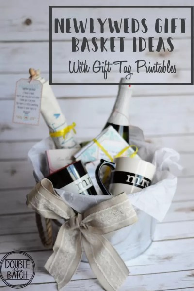 Newlyweds Gift Basket Ideas with Free Printable Gift Tags