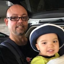spike zelenka babywearing in las vegas one of his twin sons