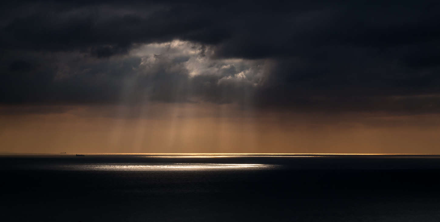 Story skies over the English Channel.