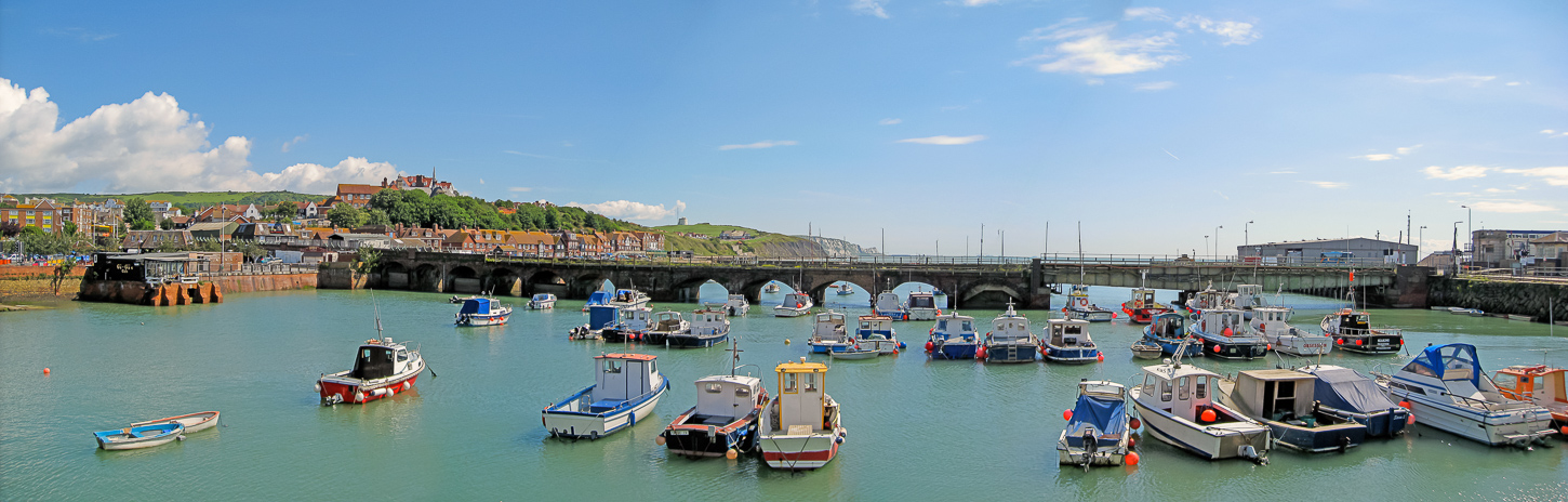 Panorama of Folkestone Harbour, Kent.