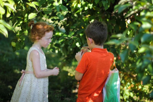 Will inspects Aila's apples to ensure his sister is not putting any bruised ones in his bag.