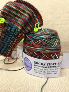 My first pair of handmade Christmas socks