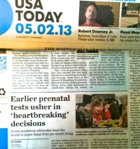 Liz Szabo USA Today Down syndrome prenatal testing