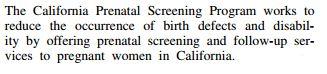 Kazerouni California prenatal testing program purpose
