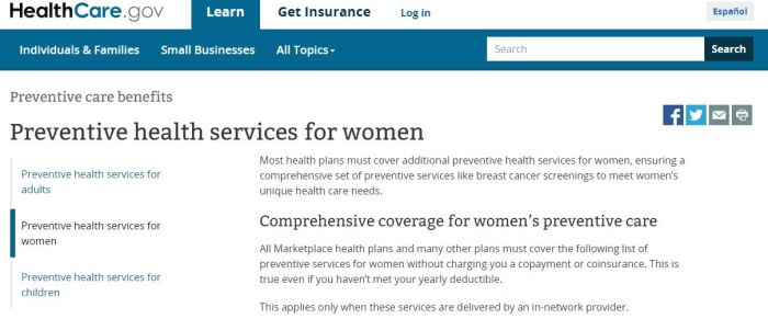 ACA preventive care for women