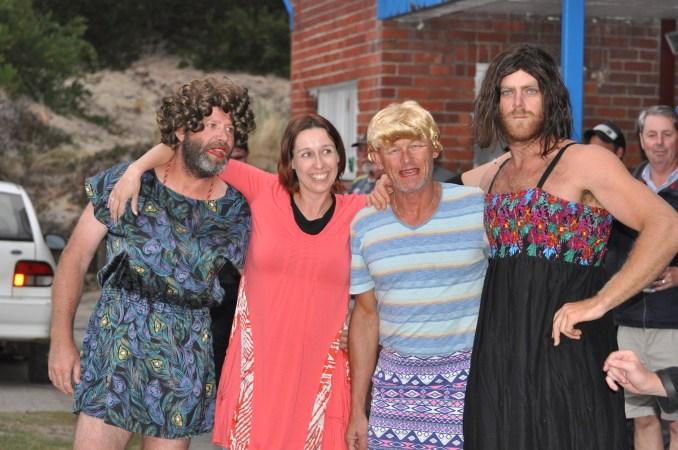 The Western Australian women's chug-a-lug team. Photo: Lou Hollis