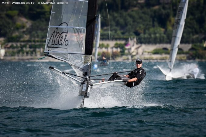 Peter Burling racing at the Moth Worlds on Lake Garda.