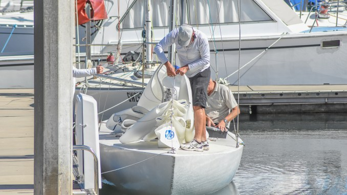 This weekend's South Australian Etchells Championship will create some close racing among the hot seven-boat fleet. Photo: Harry Fisher